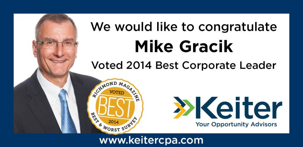 Keiter Richmond Magazine Print Ad - 2014 Best Corp Leader Gracik