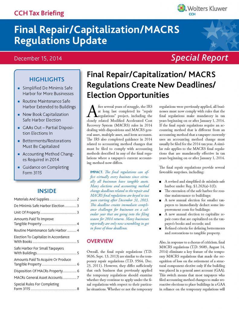 CCH Special Report: 2014 Final Repair/Capitalization/MACRS Regulations Update
