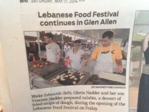 Vince Nadder Prepared Desserts in the 30th Annual Lebanese Food Festival This Weekend